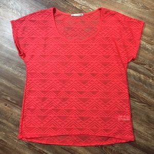 Maurices Bright Salmon Colored Short Sleeve Top